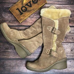 """BareTraps 'Cathy"""" Zip Leather Faux Fur Boots 7.5"""